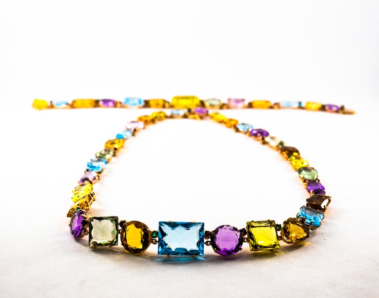Art Deco Ruby Emerald Blue Sapphire Amethyst Citrine Topaz Yellow Gold Necklace In New Condition For Sale In Naples, IT