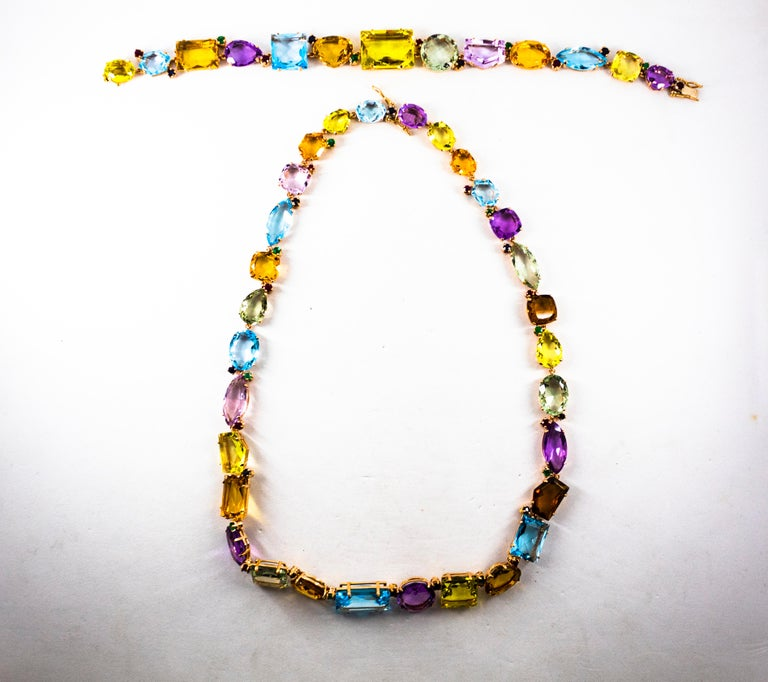 Women's or Men's Art Deco Ruby Emerald Blue Sapphire Amethyst Citrine Topaz Yellow Gold Necklace For Sale