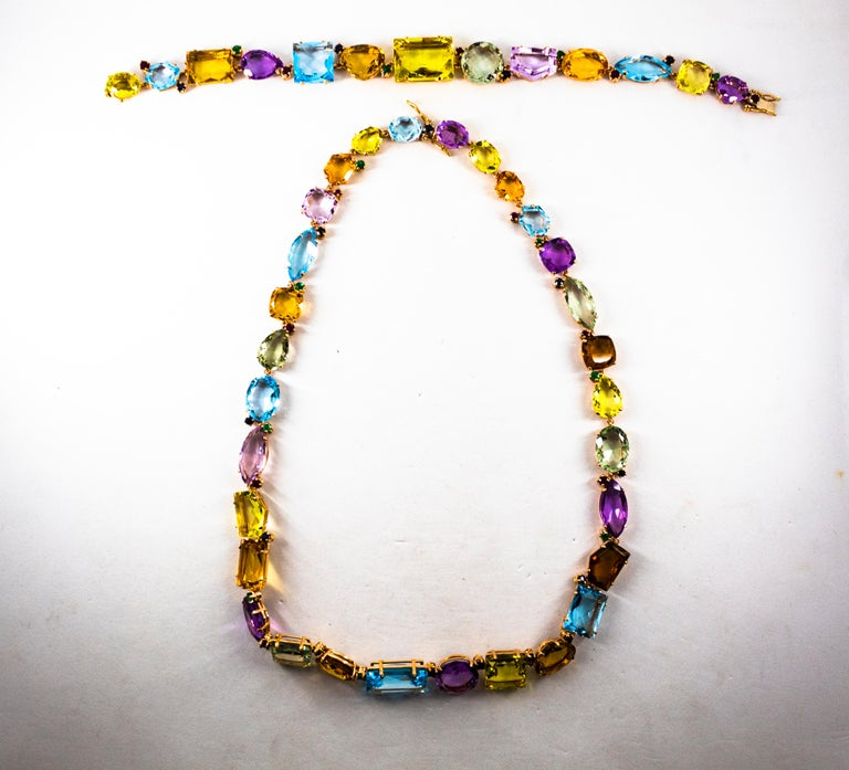 Art Deco Ruby Emerald Blue Sapphire Amethyst Citrine Topaz Yellow Gold Necklace For Sale 1