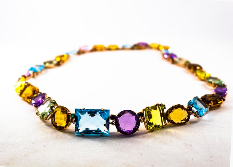 Art Deco Ruby Emerald Blue Sapphire Amethyst Citrine Topaz Yellow Gold Necklace For Sale 2