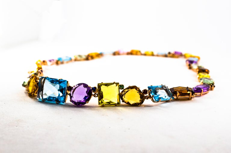 Art Deco Ruby Emerald Blue Sapphire Amethyst Citrine Topaz Yellow Gold Necklace For Sale 3