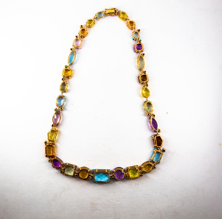 Art Deco Ruby Emerald Blue Sapphire Amethyst Citrine Topaz Yellow Gold Necklace For Sale 4