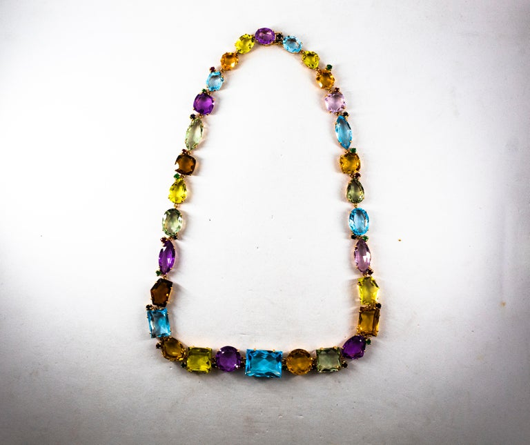 Art Deco Ruby Emerald Blue Sapphire Amethyst Citrine Topaz Yellow Gold Necklace For Sale 5