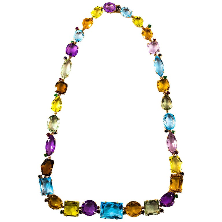 Art Deco Ruby Emerald Blue Sapphire Amethyst Citrine Topaz Yellow Gold Necklace For Sale