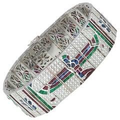 Art Deco Style Ruby Emerald Blue Sapphire, Diamond Bracelet 18 Karat White Gold