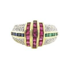 Art Deco Ruby, Emerald, Diamond and Sapphire Ring