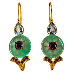 Art Deco Ruby Pink Tourmaline Jade Aquamarine Yellow Gold Lever-Back Earrings