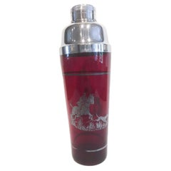 Art Deco Ruby Red Cocktail Shaker with Sterling Overlay Steeplechase Scene