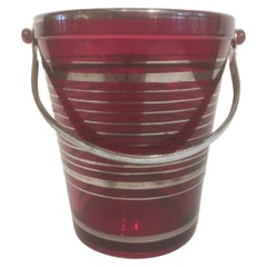 Art Deco Ruby Red Glass Pail-Form Ice Bucket with Silver Bands & Chromed Handle