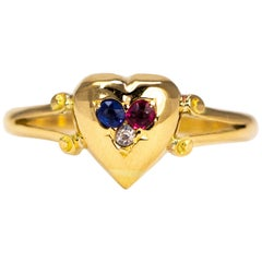 Art Deco Ruby, Sapphire and Diamond 18 Carat Gold Heart Ring