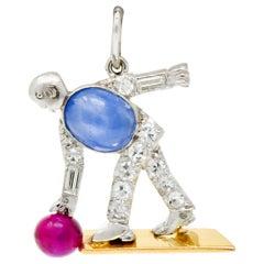 Art Deco Ruby Star Sapphire Diamond 18 Karat Gold Platinum Bowling Charm