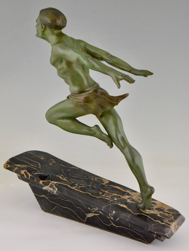 Art Deco Running Man Statue by L. Valderi French For Sale 5