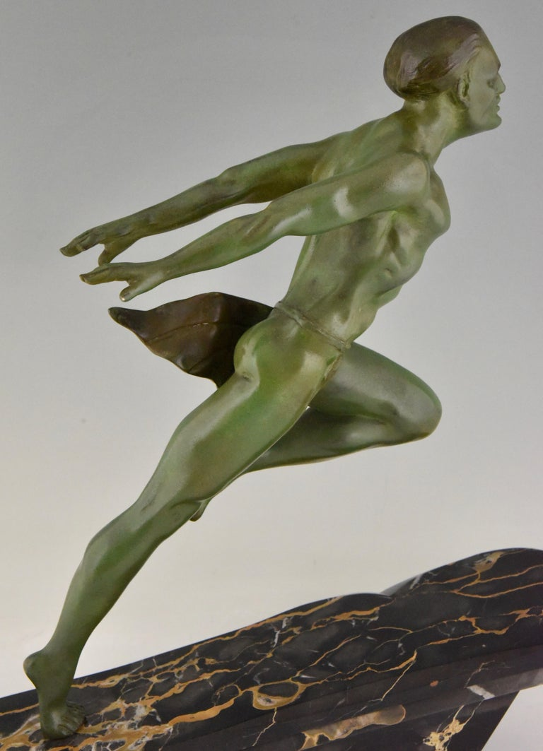 Art Deco Running Man Statue by L. Valderi French For Sale 6