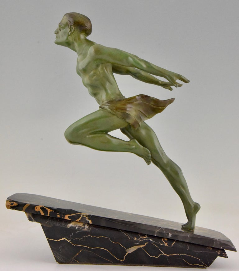 Mid-20th Century Art Deco Running Man Statue by L. Valderi French For Sale
