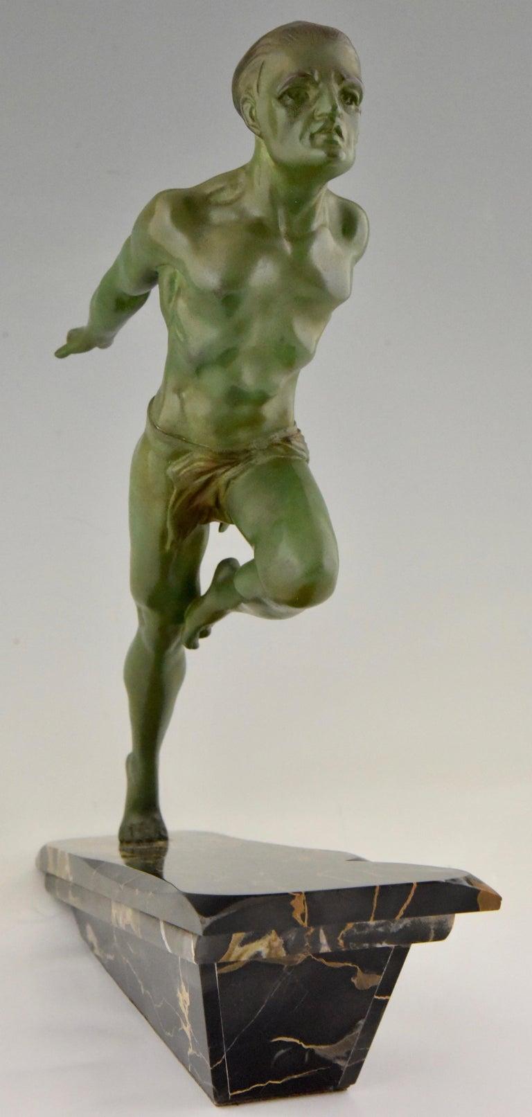 Spelter Art Deco Running Man Statue by L. Valderi French For Sale