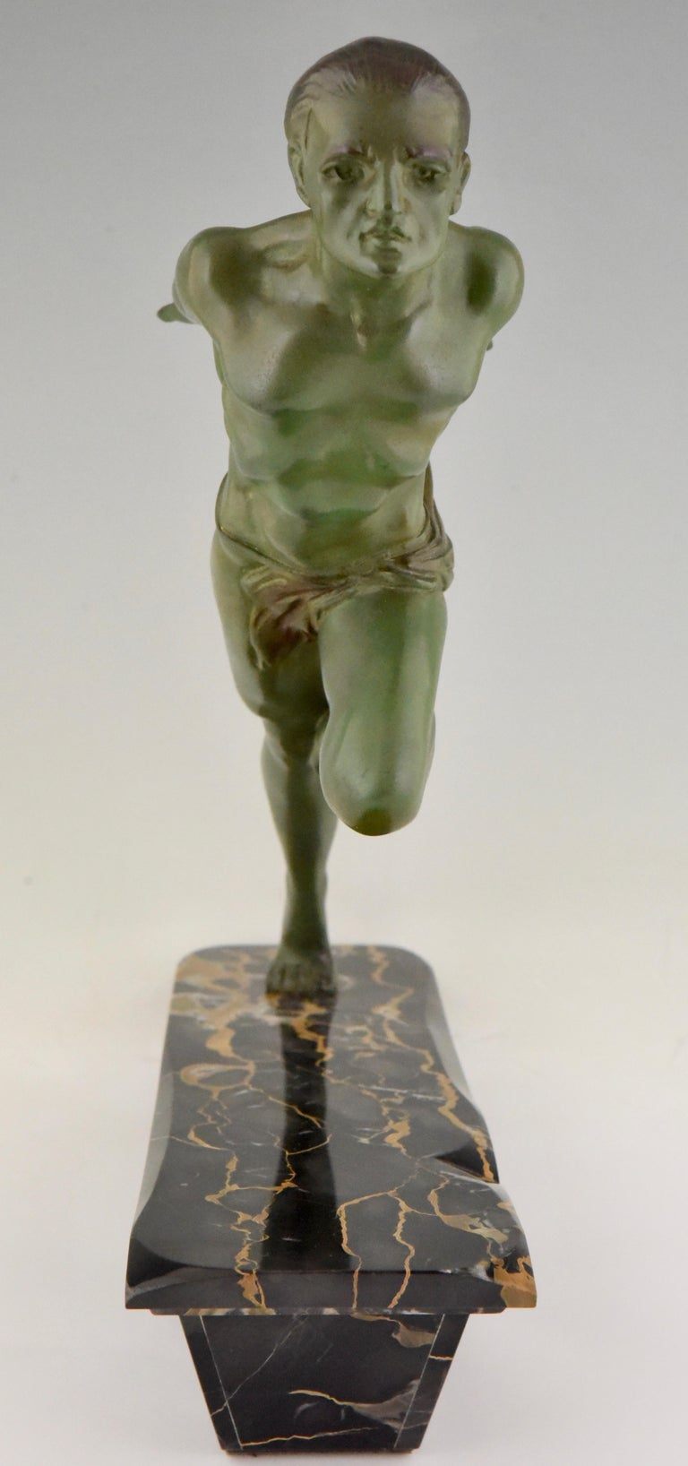 Art Deco Running Man Statue by L. Valderi French For Sale 1