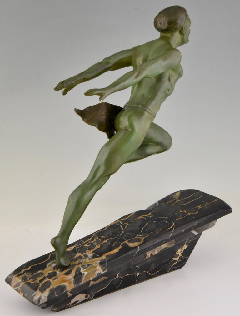 Art Deco Running Man Statue by L. Valderi French For Sale 3