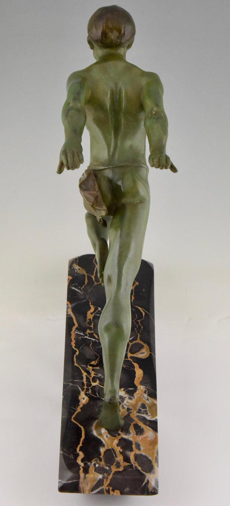 Art Deco Running Man Statue by L. Valderi French For Sale 4
