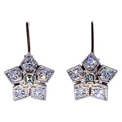 Art Deco Russian 0.40 Carat Diamond and Emerald Flower Earrings