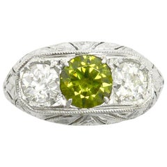 Art Deco Russian Demantoid Garnet and Diamond Three-Stone Ring 3 Carat