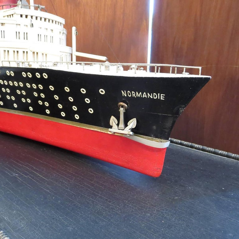 French Art Deco S S Normandie Ocean Liner Travel Agency Display Model, circa 1935 For Sale