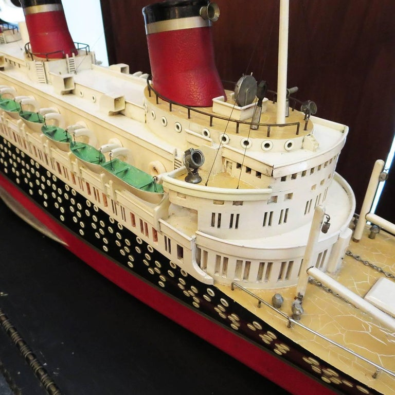 Painted Art Deco S S Normandie Ocean Liner Travel Agency Display Model, circa 1935 For Sale