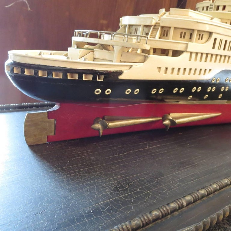 Wood Art Deco S S Normandie Ocean Liner Travel Agency Display Model, circa 1935 For Sale