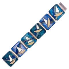Art Deco Sailing Boats Cloisonné Enamel Bracelet Silver Copper Silver Plated