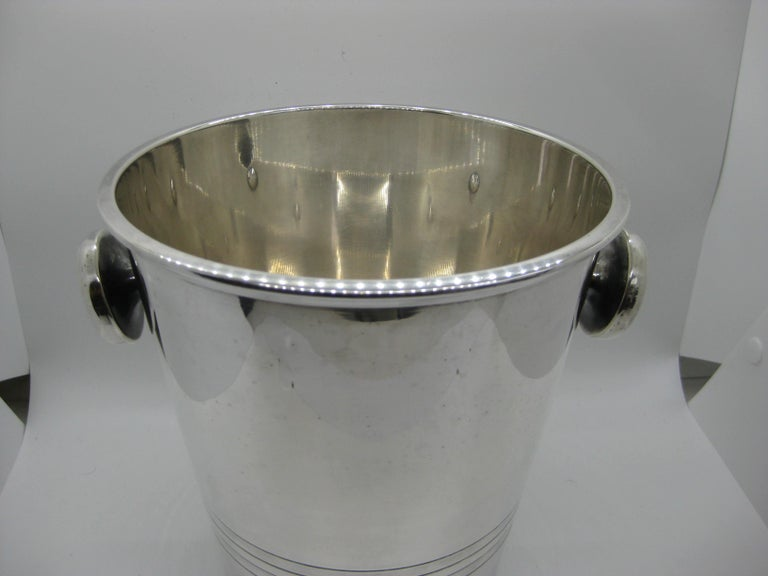 Art Deco Saint Medard Le Chardon French Silverplate Ice Bucket Champagne Cooler In Good Condition For Sale In San Diego, CA