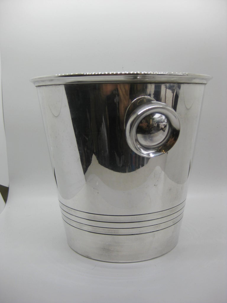 20th Century Art Deco Saint Medard Le Chardon French Silverplate Ice Bucket Champagne Cooler For Sale