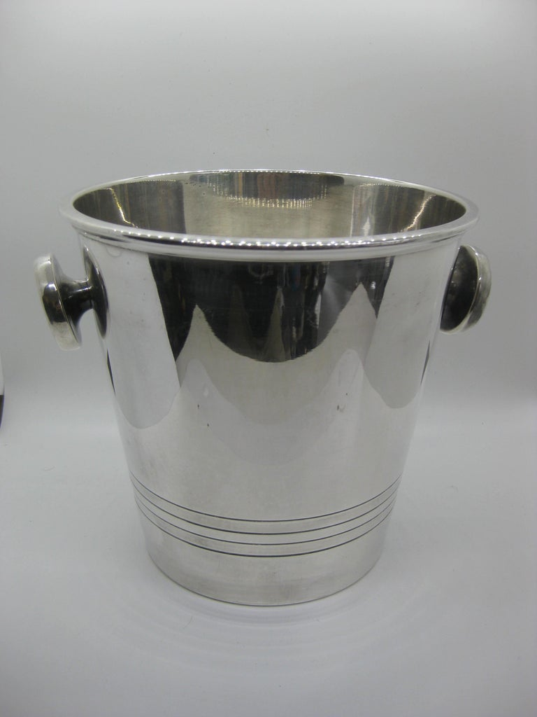 Art Deco Saint Medard Le Chardon French Silverplate Ice Bucket Champagne Cooler For Sale 1