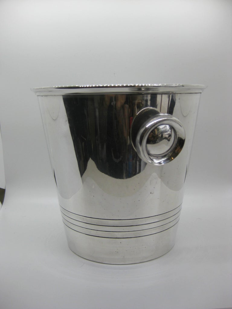 Art Deco Saint Medard Le Chardon French Silverplate Ice Bucket Champagne Cooler For Sale 2