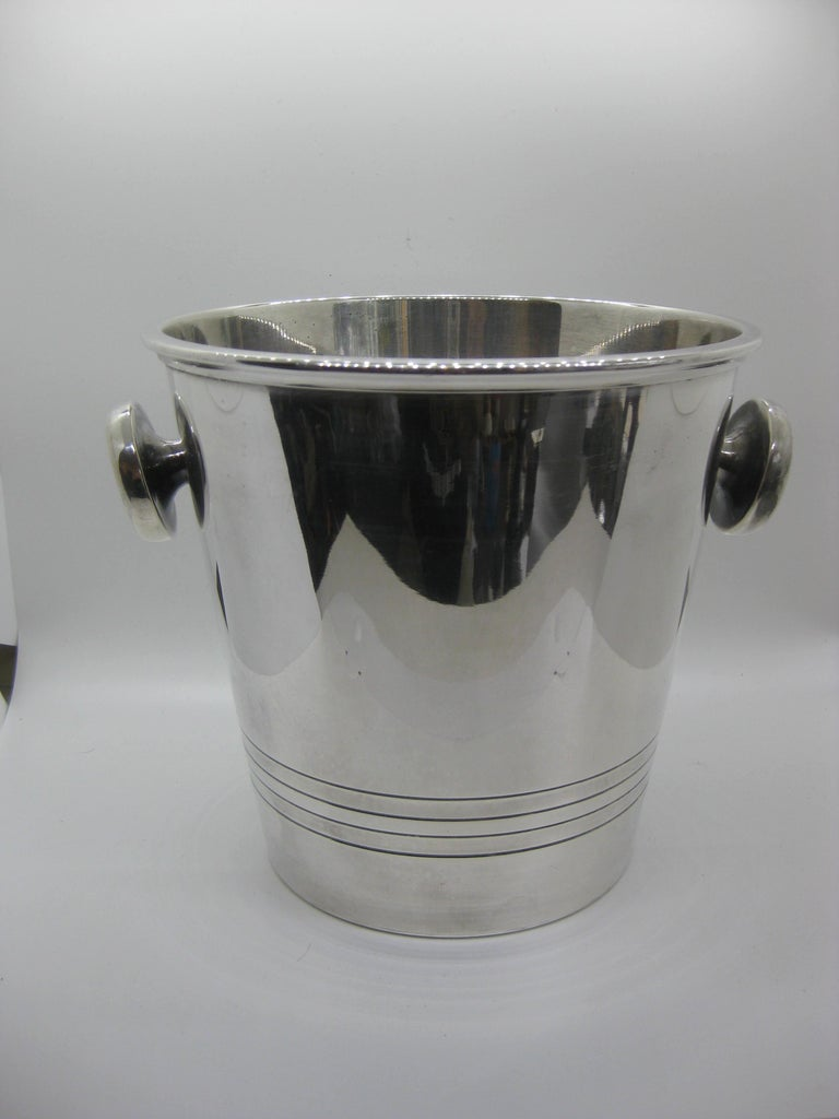 Art Deco Saint Medard Le Chardon French Silverplate Ice Bucket Champagne Cooler For Sale 4