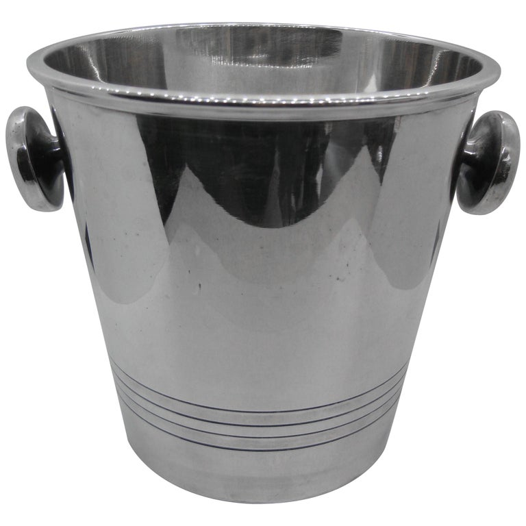 Art Deco Saint Medard Le Chardon French Silverplate Ice Bucket Champagne Cooler For Sale