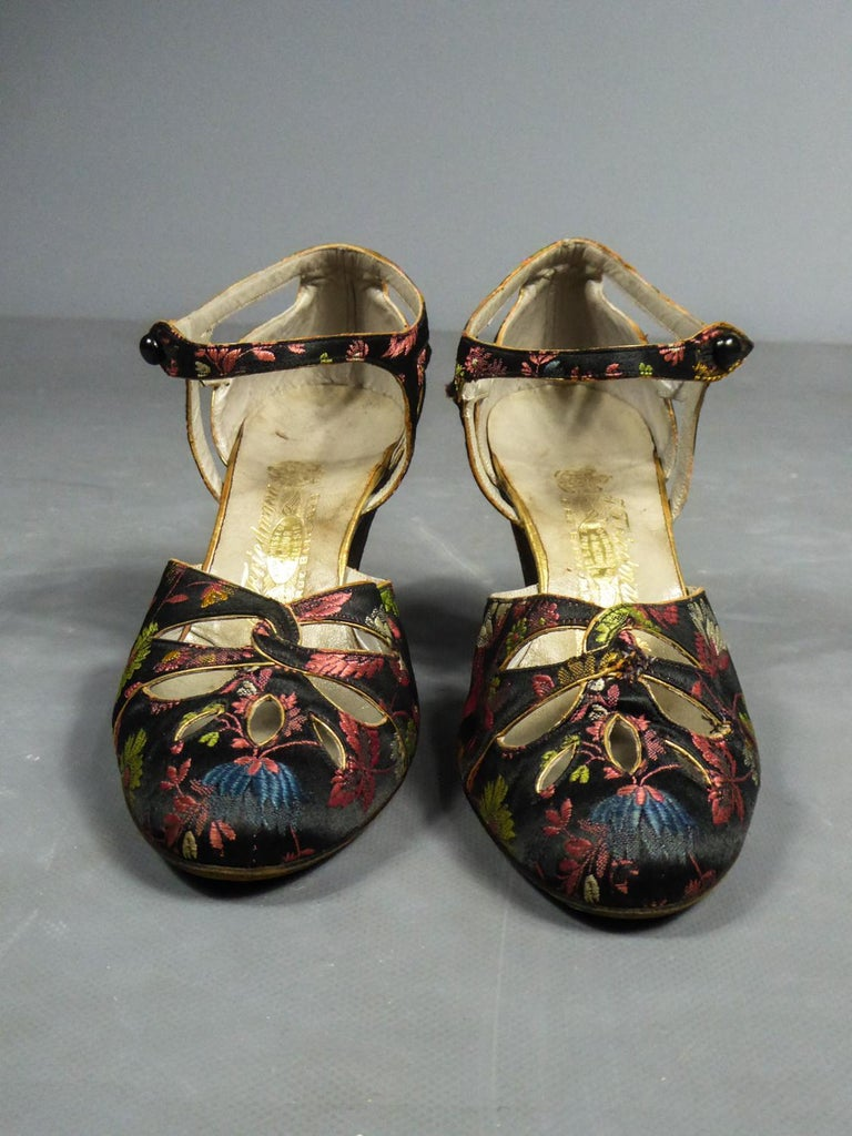 Circa 1915/1920 France  A Collecting Pair of Salomé or pumps for ball in brocaded satin from the designer houseFriedmann circa 1915/1920. Located at 6 rue Barye in Paris, the designer house Friedmann works for Haute Couture and is notably a