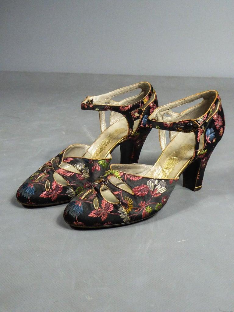 Black Art Deco Salomé or Charles IX Satin Shoes for the Ball Circa 1915