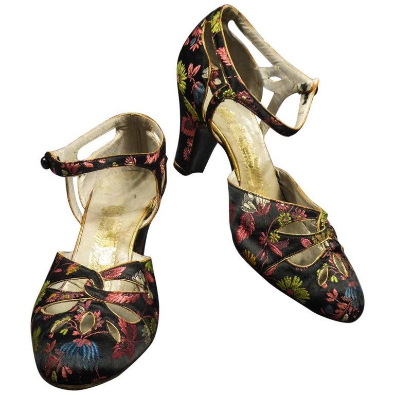 Art Deco Salomé or Charles IX Satin Shoes for the Ball Circa 1915