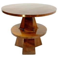 Art Deco Saloon Table with Walnut Veneer and French Lacquer Polish, 1930's