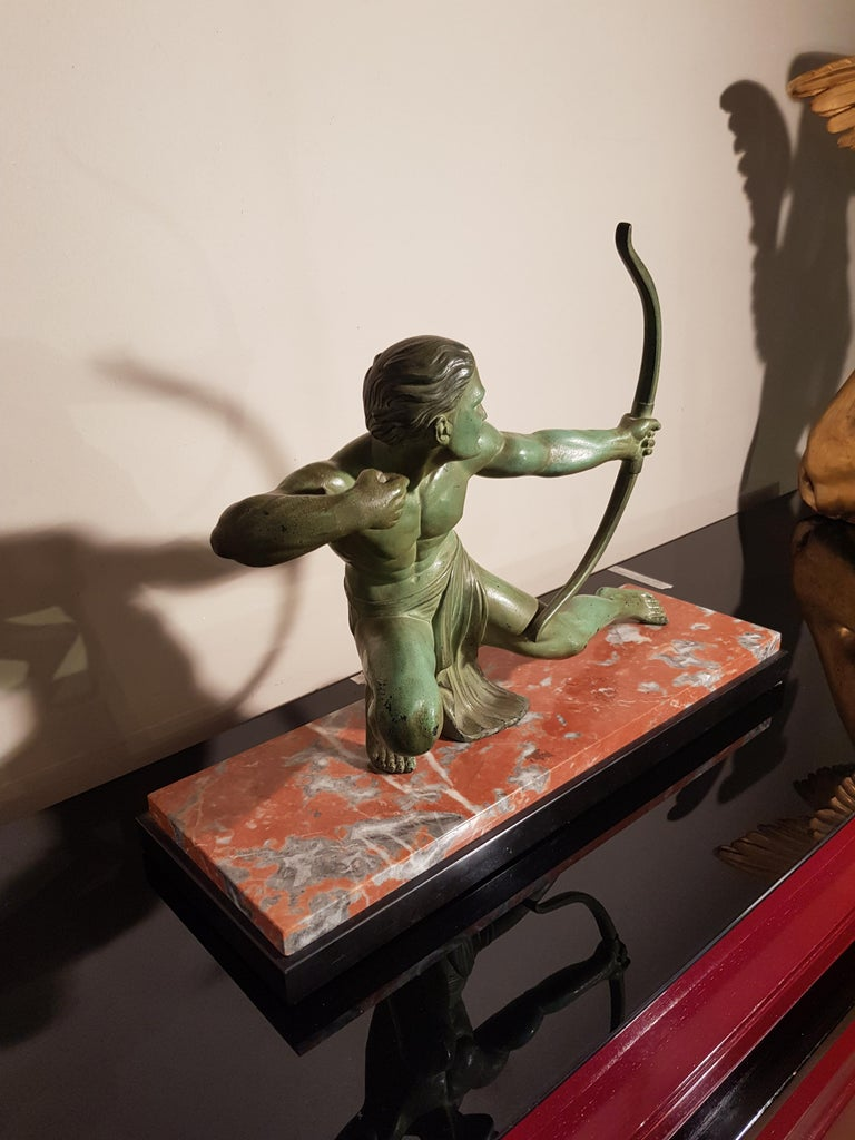 Art Deco Salvatore Melani Bowman on Marble Base Figurative Sculpture, 1930s 4