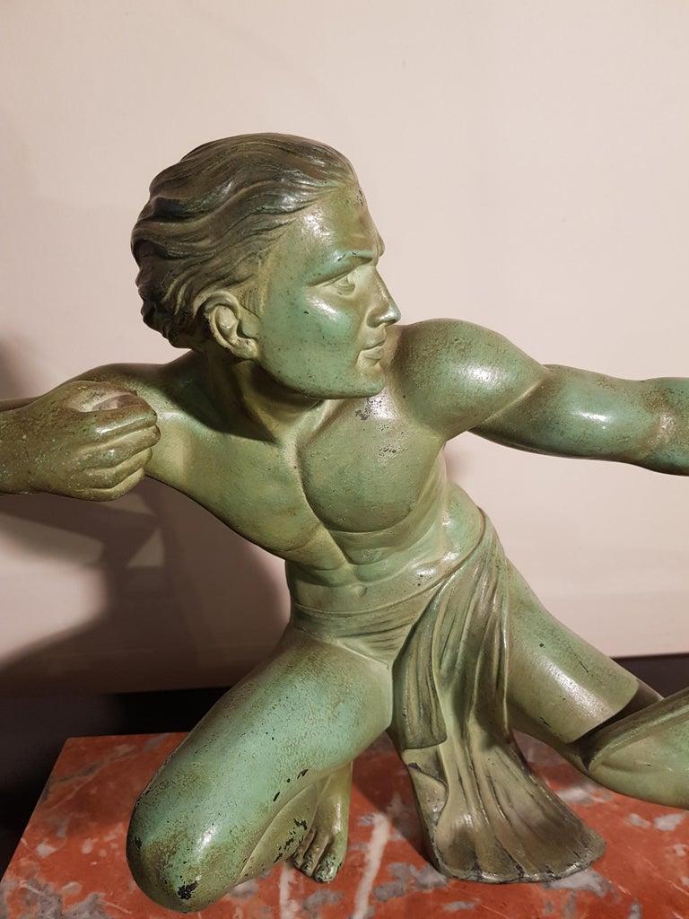 Art Deco Salvatore Melani Bowman on Marble Base Figurative Sculpture, 1930s 5