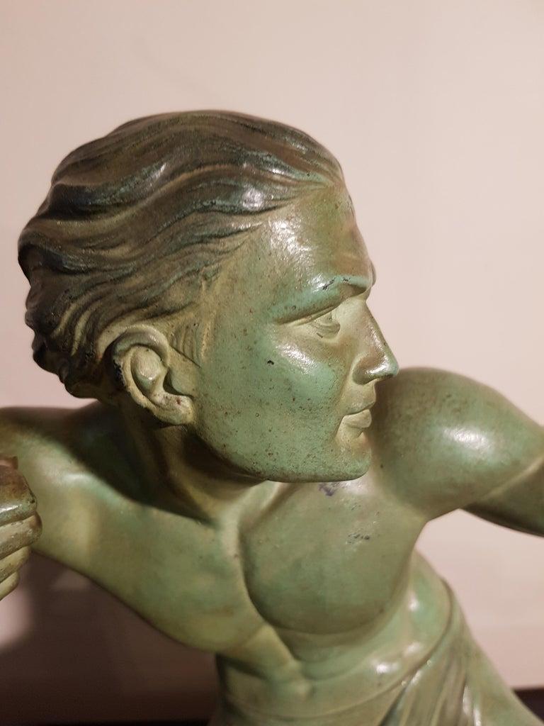 Art Deco Salvatore Melani Bowman on Marble Base Figurative Sculpture, 1930s 6