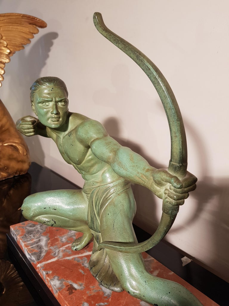 Art Deco Salvatore Melani Bowman on Marble Base Figurative Sculpture, 1930s 7