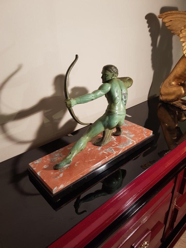 Italian Art Deco Salvatore Melani Bowman on Marble Base Figurative Sculpture, 1930s