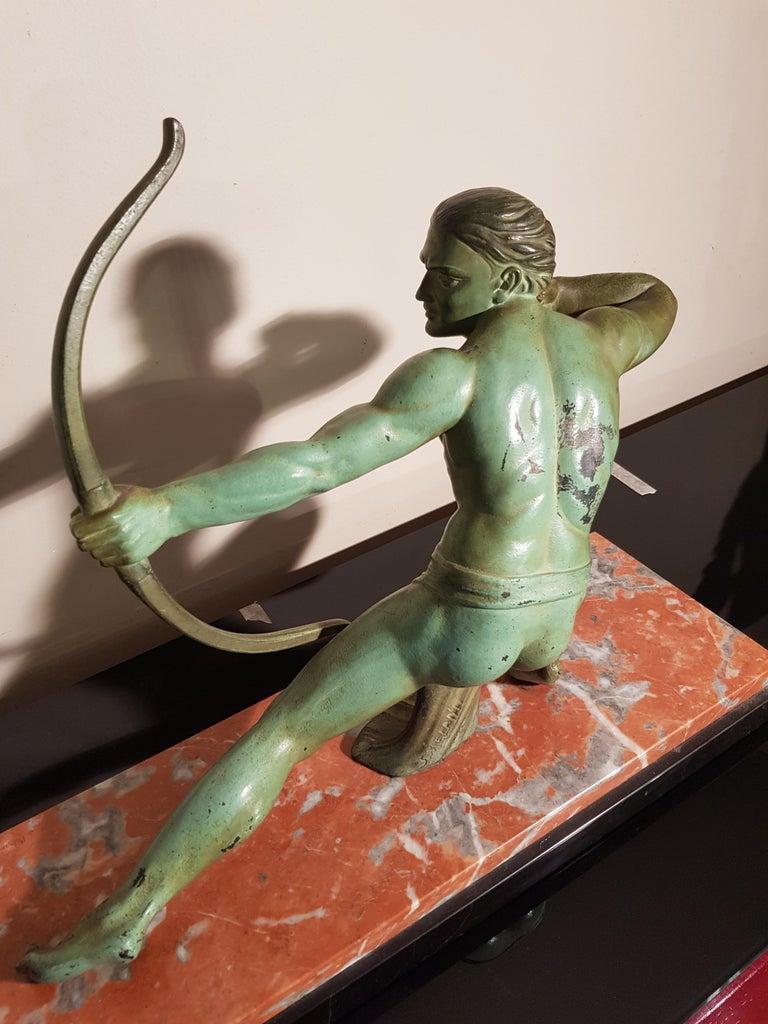 Metal Art Deco Salvatore Melani Bowman on Marble Base Figurative Sculpture, 1930s
