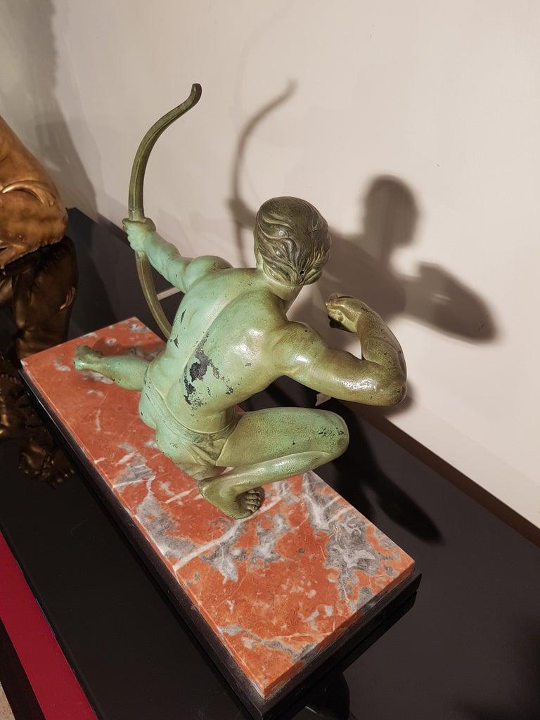 Art Deco Salvatore Melani Bowman on Marble Base Figurative Sculpture, 1930s 1