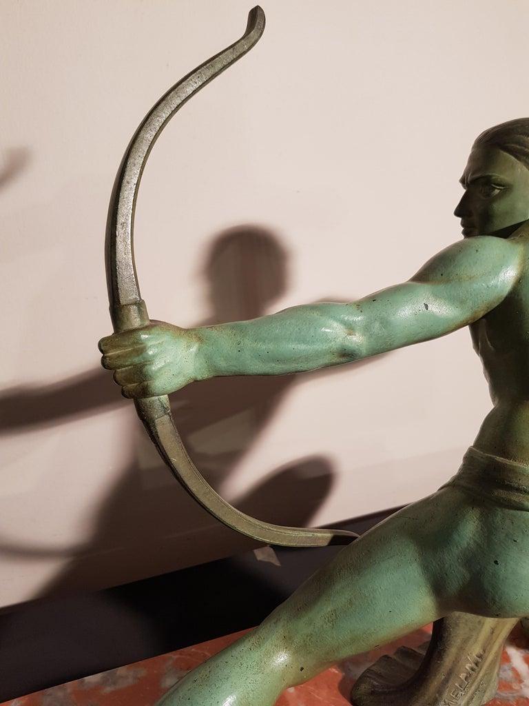 Art Deco Salvatore Melani Bowman on Marble Base Figurative Sculpture, 1930s 2