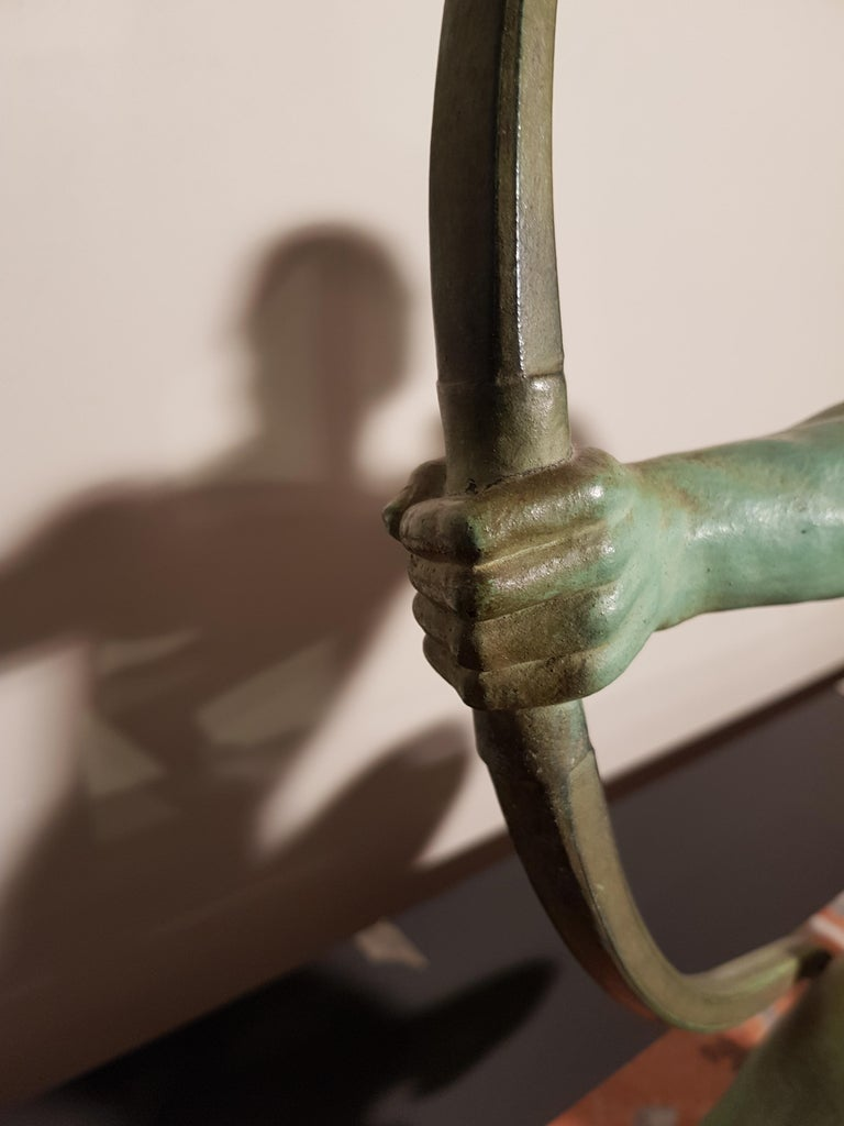 Art Deco Salvatore Melani Bowman on Marble Base Figurative Sculpture, 1930s 3