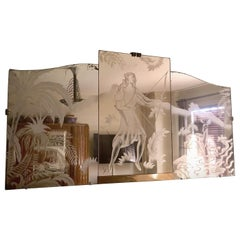 Art Deco Sandblasted Etched Peach Mirror Diana Figure Tryptic, French, 1925
