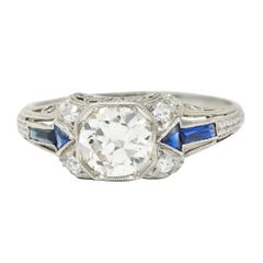 Art Deco Sapphire 1.10 Carats Diamond Platinum Arrow Engagement Ring