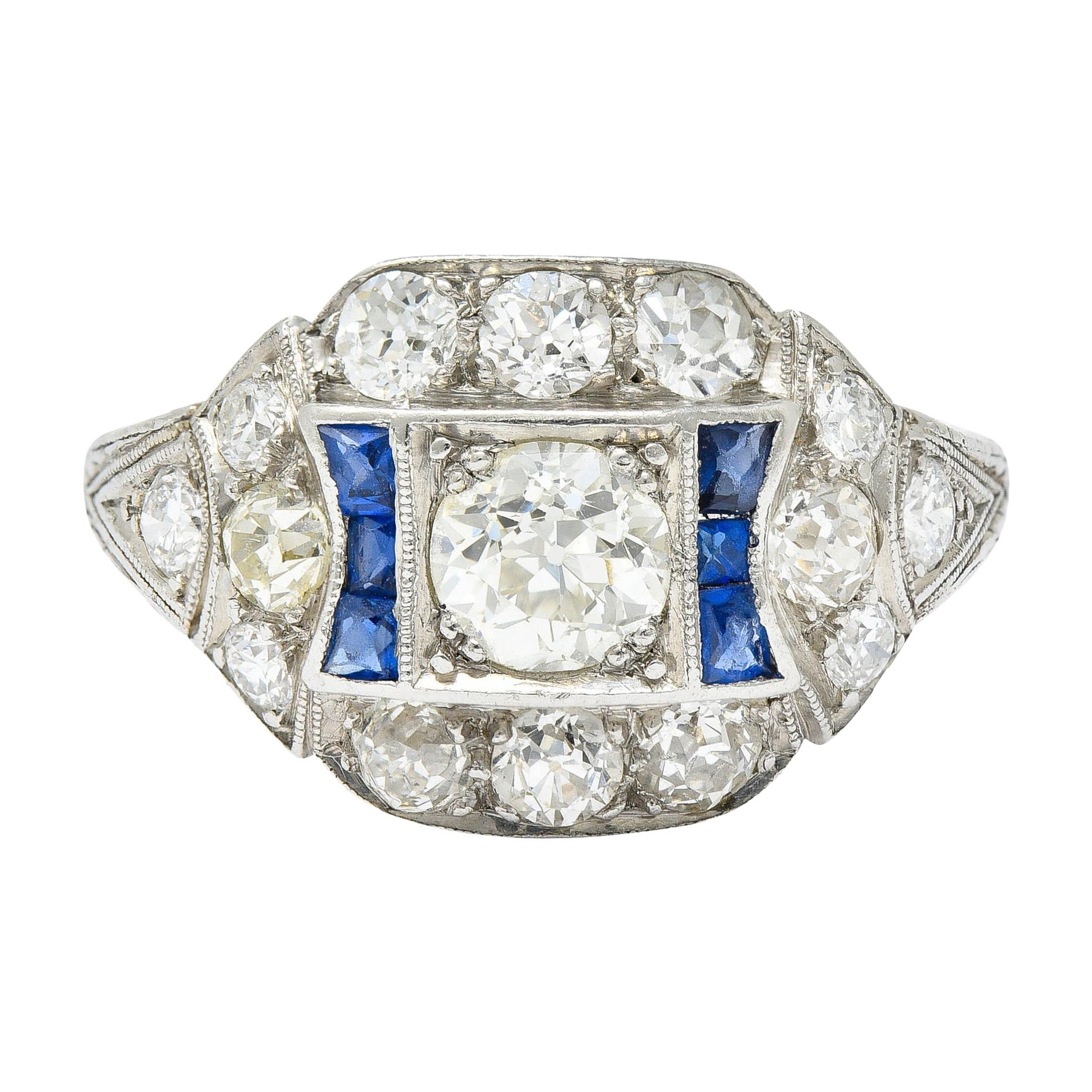 Art Deco Sapphire 1.58 Carats Diamond Platinum Dinner Ring